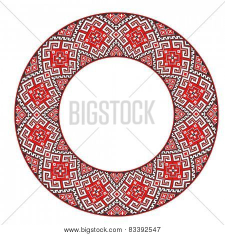 round ornament of embroidered good like handmade cross-stitch ethnic Ukraine pattern. template for various goods