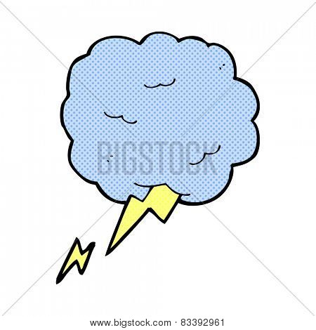 retro comic book style cartoon thundercloud symbol