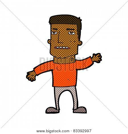 retro comic book style cartoon waving stressed man