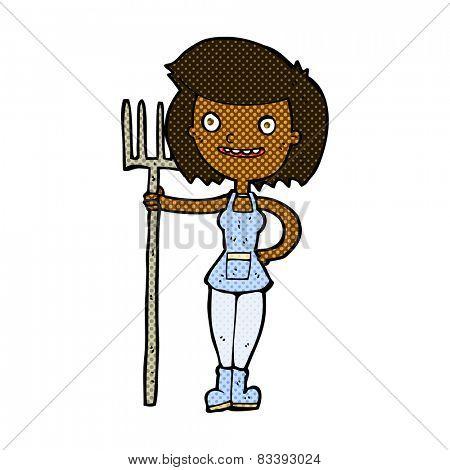 retro comic book style cartoon happy farmer girl