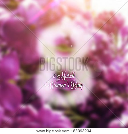 International Women's Day, 8 March. Smooth Background with Flowers, Blurred Digit 8 and Label for Holiday Design.