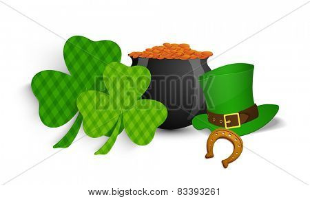 Creative shamrock leaves, leprechaun's hat, horse shoe and golden coins pot on white background for Happy St. Patrick's Day celebrations.