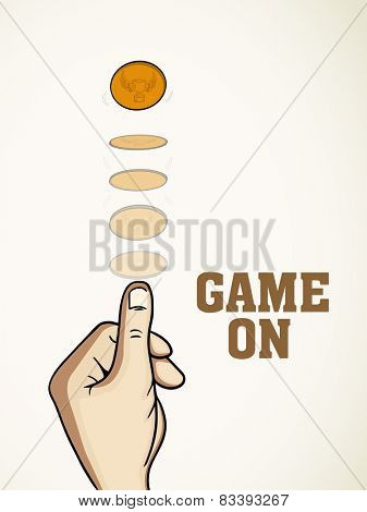 Cricket sports concept with illustration of toss coin projection and stylish text Game On.