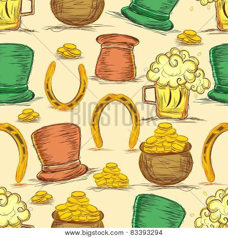Pattern with St. Patrick's Day celebrations objects.