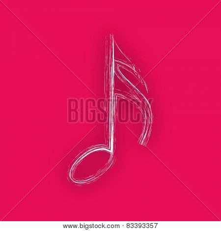 Musical symbol on pink background.