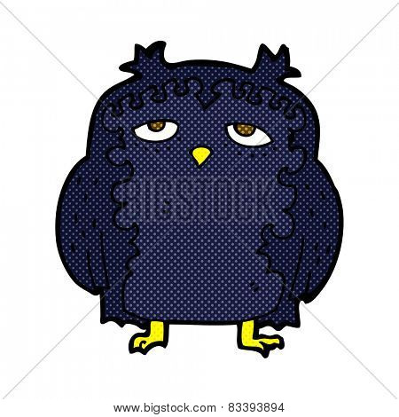 retro comic book style cartoon wise old owl
