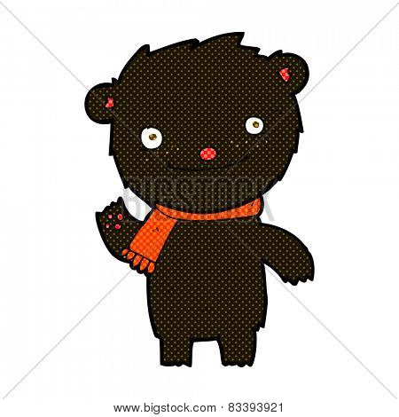retro comic book style cartoon cute black bear