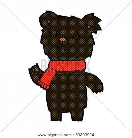 retro comic book style cartoon cute black bear cub