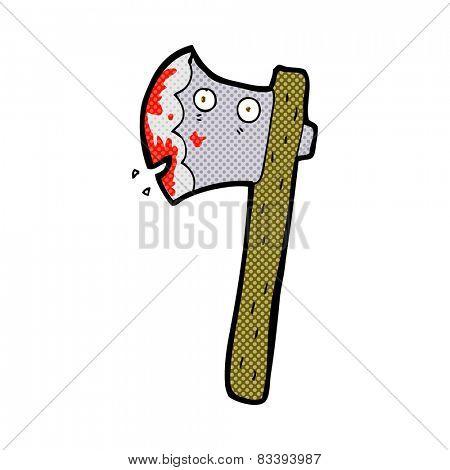 bloody retro comic book style cartoon axe