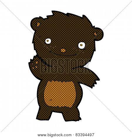 retro comic book style cartoon waving black bear cub