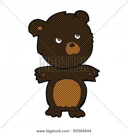 retro comic book style cartoon funny teddy bear