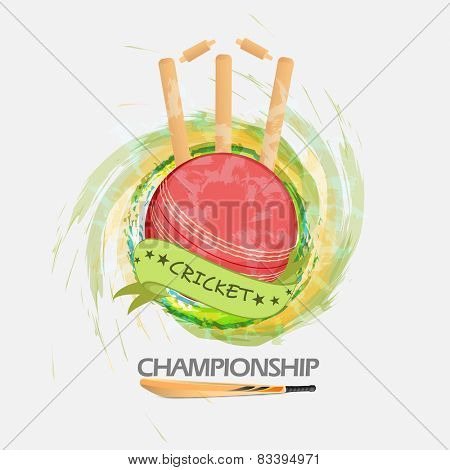 Creative ball with bat and wicket stumps on grungy background for Cricket.