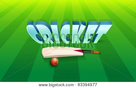 3D text Cricket with shiny bat and red ball on green stadium background.