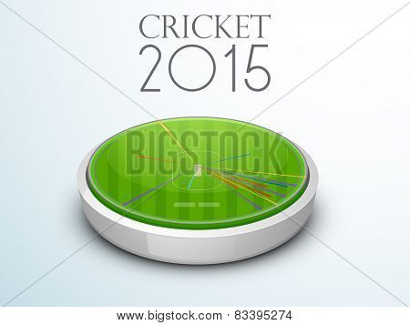Top view of a cricket stadium with match statistics, Cricket 2015 Concept.