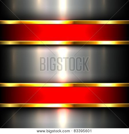 Metallic background with red glossy banners, vector illustration.