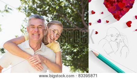 Happy senior man giving his partner a piggy back against sketch of kissing couple with pencil