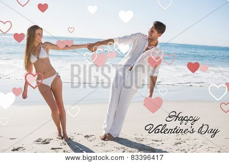 Couple holding hands and leaning to either side against heart hot air balloon