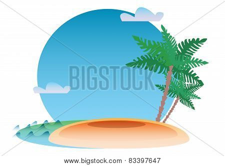 Tropical Resort Background Sea Island And Palm
