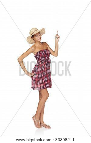 Happy summer woman pointing