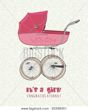 Greeting card with birthday girl with a vintage pink stroller