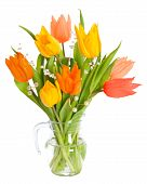 pic of flower arrangement  - Colourful tulip flowers in glass vase isolated on white background - JPG