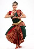 picture of bharatanatyam  - Lady performing bharatanatyam indian dance with rich religious dress - JPG