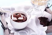 picture of hot-chocolate  - Hot chocolate with marshmallows in mug - JPG