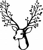 pic of deer horn  - Vector illustration of Deer head cartoon with tree branch horn - JPG