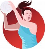 pic of netball  - Illustration of a netball player passing ball set inside circle done in retro style on isolated background - JPG