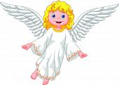 image of cute innocent  - Vector illustration of Cute cartoon angel isolated on white background - JPG