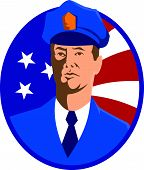 stock photo of policeman  - Illustration of an american police officer policeman set inside circle with stars and stripes flag in the background done in retro style - JPG