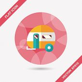 foto of travel trailer  - Travel Trailer Flat Icon With Long Shadow - JPG