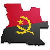 Постер, плакат: detailed illustration of a map of Angola with flag eps10 vector