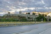 foto of old stone fence  - Stone fence bridge road and citadel sunrise and watchtower on one of the Kale fortress in Skopje Macedonia - JPG