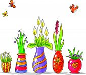 foto of vase flowers  - Drawing of colorful vases with flowers in a row - JPG