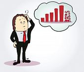 image of going out business sale  - BuBusinessman and diagram  cartoon character - JPG