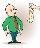 Vector illustration of a cartoon character. man hassled by creditors holding bills, signs, payment d poster