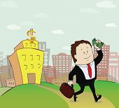 picture of going out business sale  - Man with money go from the bank - JPG