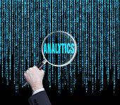 stock photo of binary code  - hand search analytics text in binary code - JPG