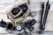 image of megapixel  - Bag and appliances for photography top view - JPG