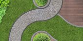 image of shingles  - foot path through the garden in aerial view - JPG