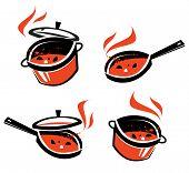 Постер, плакат: kitchen utensils vector logo design template cooking or food icon