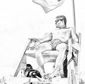 stock photo of lifeguard  - Sketch of a handsome male lifeguard on the beach - JPG
