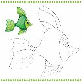 image of game-fish  - Connect the dots and coloring page with funny fish - JPG
