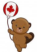 picture of beaver  - Mascot Illustration of a Beaver Holding a Balloon Marked With the Canadian Flag - JPG