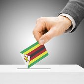 Постер, плакат: Voting Concept Male Inserting Flag Into Ballot Box Zimbabwe