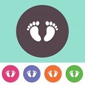 stock photo of footprint  - Vector baby footprint icon on round colorful buttons - JPG