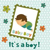 stock photo of boys  - Baby boy card with adorable little boy sleeping - JPG