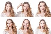 image of emoticons  - Collage of woman different facial expressions emotions and emoticons - JPG