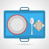 pic of flat-bread  - Flat color vector icon for blue food tray with plate - JPG